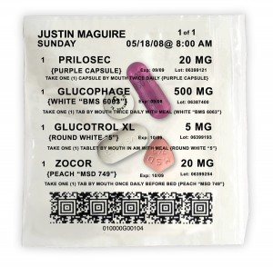 Each bag includes date and time of dose, patient name, drug, strength, and pill description.